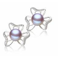 Freshwater Pearl Earrings 8.0-10.0mm Lavender AAA Quality