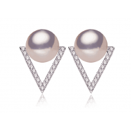 Freshwater Pearl Earrings Stud 7.0-8.0mm Metalic chocolate-Trian
