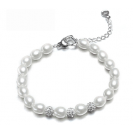 Freshwater Pearl Bracelet 8.5-9.0mm White AAA Rice Shape with Ge