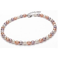 Freshwater Pearl Necklace 6.5-7.5mm Mixed Color Rice Shaped AAA