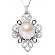 Freshwater Pearl Pendant 11.0-13.0mm White AAA-Lucky Knot