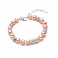 Freshwater Pearl Bracelet 7.5-9.5 mm  with Swarovski element