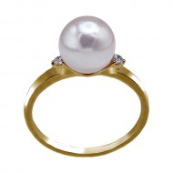 Akoya Pearl Ring 8.0-9.0mm White AAA Quality with Diamond