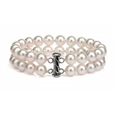 Freshwater Pearl Bracelet 7.5-8.0mm White Double Strand