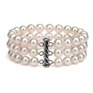 Freshwater Pearl Bracelet 7.5-8.0mm White Triple Strand