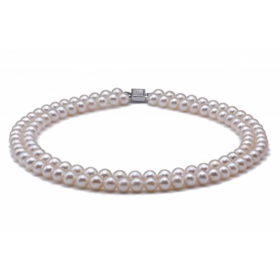 Freshwater Pearl Necklace 7.5-8.5mm White Double Strand