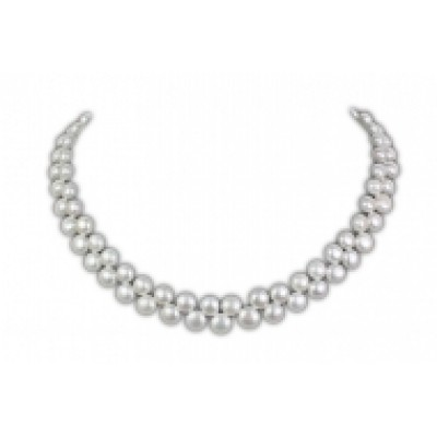 Freshwater Pearl Necklace 8.0-9.0mm White Coin Shaped AAA