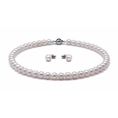 14/18K Gold Freshwater Pearl Set 7.5-10.5mm White AAA