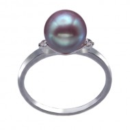 Freshwater Pearl Ring 8.0-9.0mm Lavender AAA with Diamond