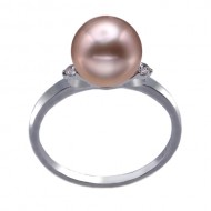 Freshwater Pearl Ring 8.0-9.0mm Metallic AAA-with Diamond