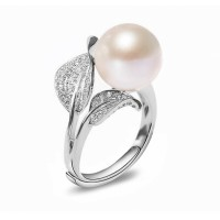 Adjustable Freshwater Pearl Ring 8.0-9.0 mm AAA-Leaf