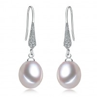 Freshwater Pearl Earrings 7.0-9.0mm White AAA Drop