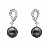 Tahitian Pearl Earring 9.0-11.0mm Black AA+/AAA with Diamond