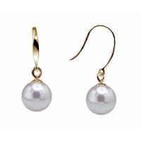 18K Akoya Pearl Earrings Dangle 7.0-9.0mm White AAA Quality