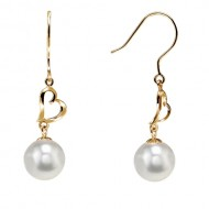 Akoya Pearl Earring Dangle 8.0-9.0mm White AAA Quality