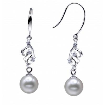 Freshwater Pearl Earrings Dangle 9.0-11.0mm White AA+/AAA Qualit
