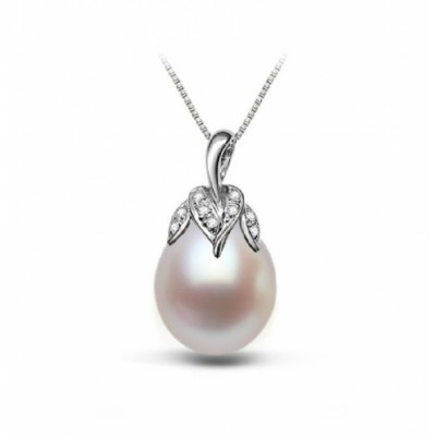 Freshwater Pearl Pendant 10.0-11.0mm White Drop AAA-Aubergine