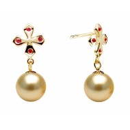 South Sea Pearl Earring 9.0-11.0mm Golden AA+/AAA with Ruby