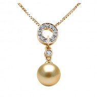 South Sea Pearl Pendant 10-12mm Golden AA+/AAA-Magic