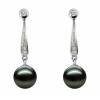 Tahitian Pearl Earring 10.0-12.0mm Black with Diamond-J'adore