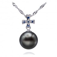 Tahitian Pearl Pendant 10.0-11.0mm Black AA+/AAA-Blue Rapture