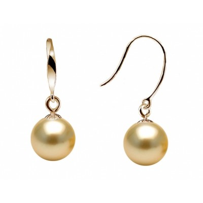 18K South Sea Pearl Earrings 9.0-11.0mm Golden AA+/AAA Quality