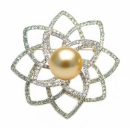 SouthSea Golden Pearl Brooch 11.0-12.0mm AAA Quality