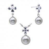 South Sea Pearl Set 10.0-11.0mm White AAA Quality Cross