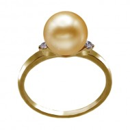 South Sea Pearl Ring 9.0-10.0mm Golden AA+-with Diamond
