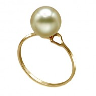 South Sea Pearl Ring 9.0-10.0mm Golden AAA-Heart Shape