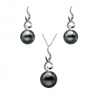 Tahitian Pearl Set 11-13mm Black AAA Quality