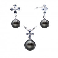 Tahitian Pearl Set 9.0-11.0mm Black AAA Quality Cross