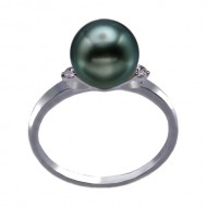 Tahitian Pearl Ring 9.0-10.0mm Peacock AA+/AAA-with Diamond