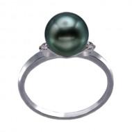 Tahitian Pearl Ring 9.0-10.0mm Peacock AA+/AAA-with Diamond