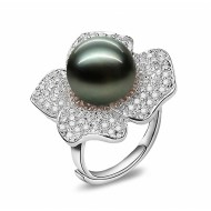 Adjustable Tahitian Pearl Ring 11.0-13.0mm Black AA+/AAA-Peony