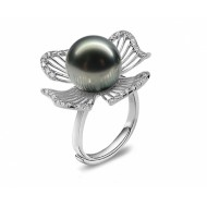 Adjustable Tahitian Pearl Ring 9.0-10.0mm Black AA+/AAA-Petal