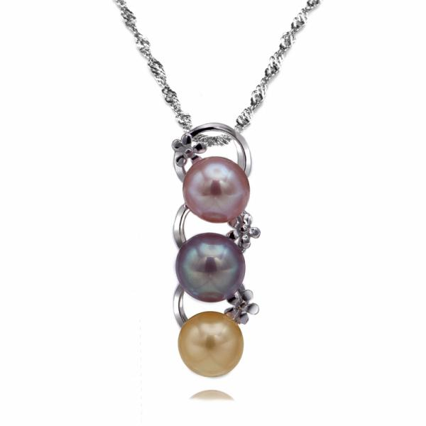 Freshwater Pearl Pendant 8.0-9.0mm Mixed AAA-Bouquet Celeste