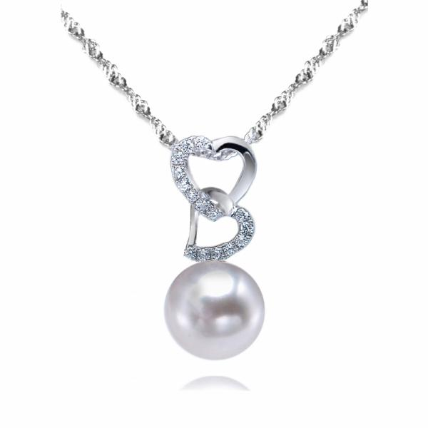Freshwater Pearl Pendant 8.0-9.0mm White AAA-Hearts Ablaze