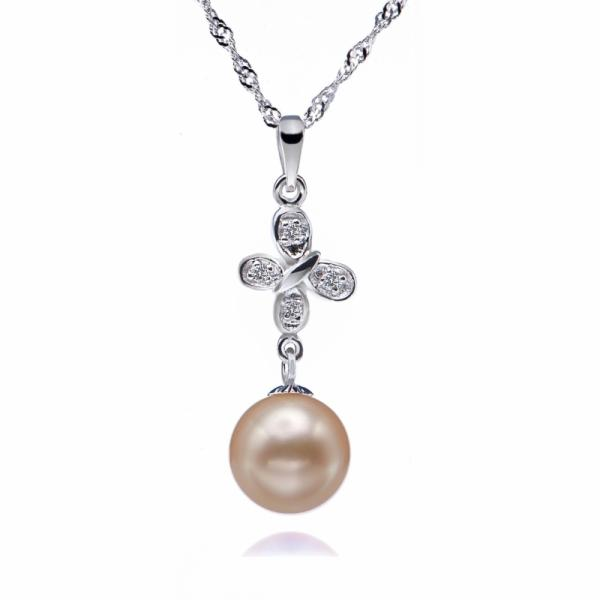Freshwater Pearl Pendant 9.0-11.0mm White AAA-Butterfly Kiss