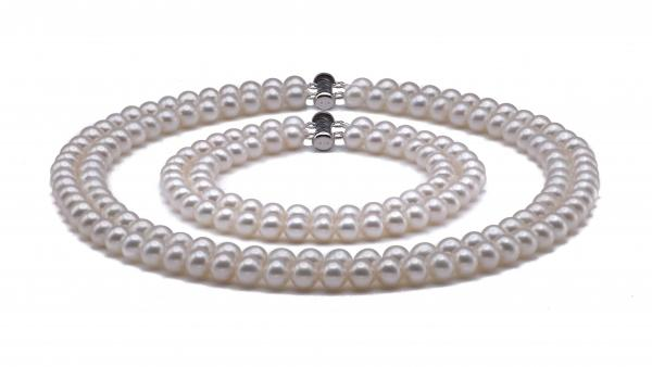 Freshwater Pearl Set 6.0-7.0mm White AA+/AAA Quality Double Stra