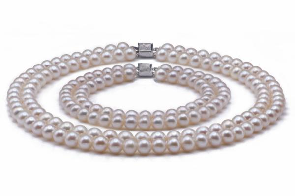 Freshwater Pearl Set 7.5-8.5mm AA+/AAA Quality Double Strand