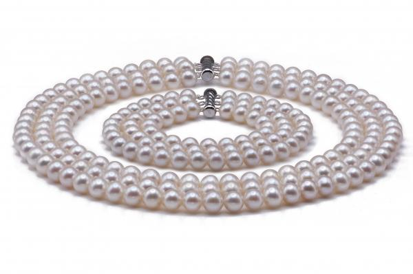 Freshwater Pearl Set 7.5-8.5mm White Quality Triple Strand