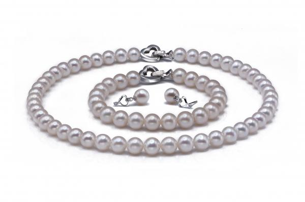 Freshwater Pearl Set 8.5-10mm White AA+/AAA Quality