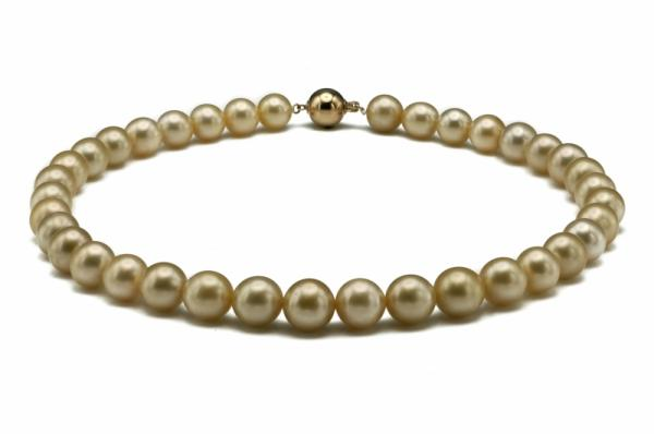 South Sea Pearl Necklace 9.0-11.0mm Golden AAA Quality