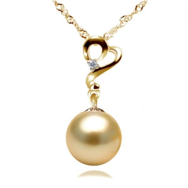 South Sea Pearl Pendant 9.0-11.0mm Golden AA+/AAA-Enchantress