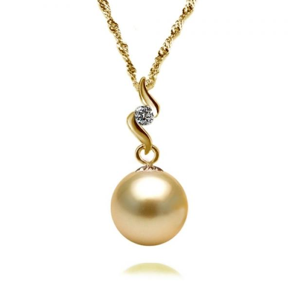 South Sea Pearl Pendant 9-11mm Golden AA+/AAA-Heavenly Swirl