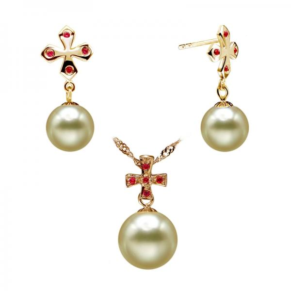 South Sea Pearl Set 10.0-11.0mm Golden AAA Quality