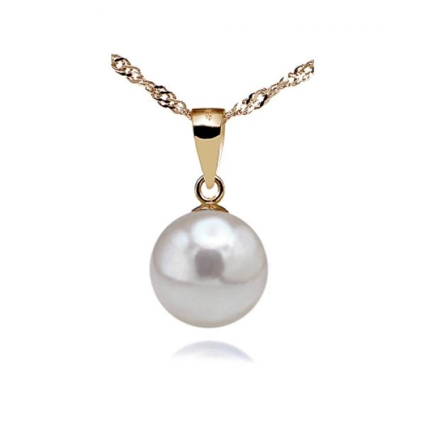 18K Akoya Pearl Pendant 7.0-9.0mm White AAA Quality Pure&Simple