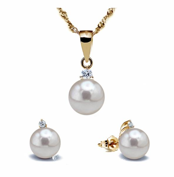 Akoya Pearl Set 7.0-8.0mm White AAA Quality with Diamond