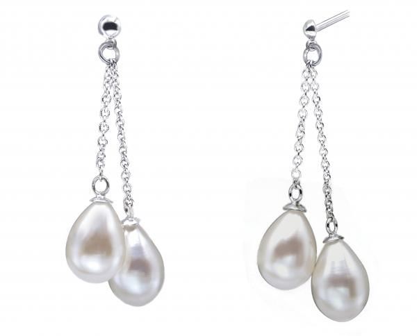 Freshwater Pearl Earrings 7.0-9.0mm White AAA Multi-Drop